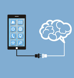brain and mobile phone technology vector image