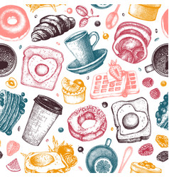 breakfast dishes background morning food hand vector image