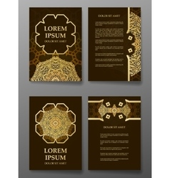 Brochure templates cards with arabic mandala vector image
