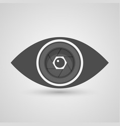 Camera lens inside eye vector