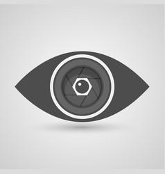 Camera lens inside the eye vector image