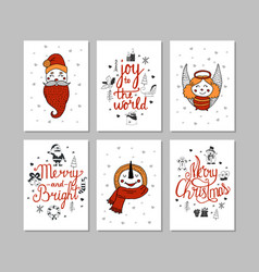 cards set cute cartoon christmas characters vector image