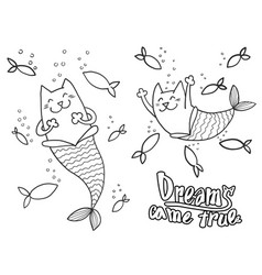 cartoon doodle cat mermaid and fish with text vector image