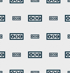 Cash currency icon sign Seamless pattern with vector image