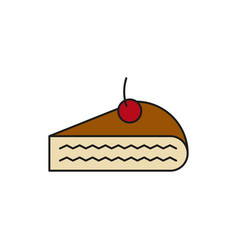 Cheese cake slice food thin line icon vector