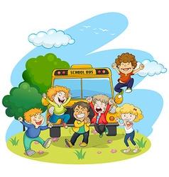 Children riding school bus vector image