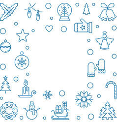 christmas and new year square outline frame vector image