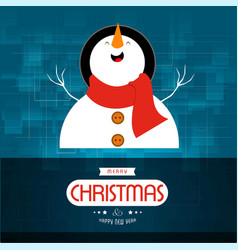 christmas card with snow man blue background vector image
