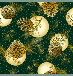 Christmas seamless pattern with golden realistic vector