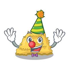 Clown hay bale mascot cartoon vector