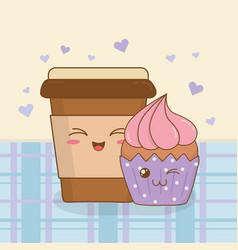 Coffee with cupcake kawaii characters vector