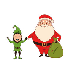 color silhouette with santa claus with bag of vector image