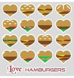 colorful hearts hamburgers styles simple stickers vector image