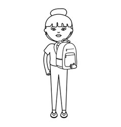 cute woman with schoolbag street style character vector image