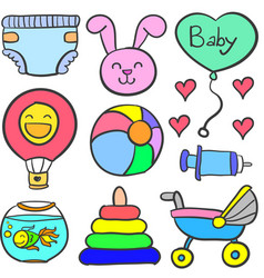 doodle of baby theme toy set vector image