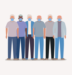 Elders men with masks design vector