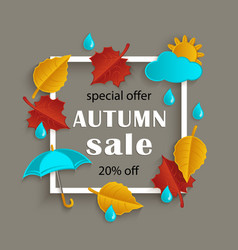 fall sale promotion banner with autumn leaves vector image