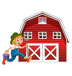 Farmer and barn vector