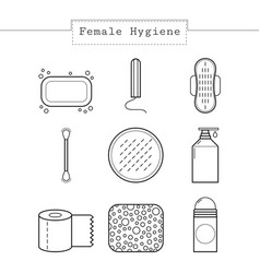 feminine hygiene set of flat icons of care vector image
