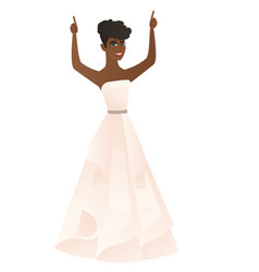 fiancee standing with raised arms up vector image