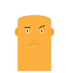 Flat bald angry face man avatar character vector image