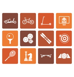 Flat sports equipment and objects icons vector