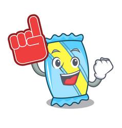 foam finger candy mascot cartoon style vector image