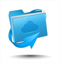 Folder with cloud computing symbol vector image