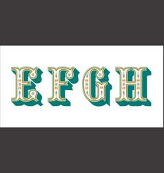 folk alphabet ornamental floral letter e f g h vector image