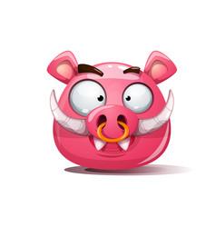 Funny cute crazy boar smiley symbol of 2019 vector