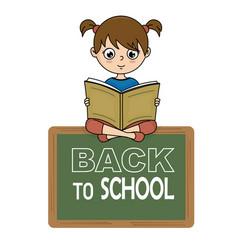 girl reading a book on a blackboard vector image