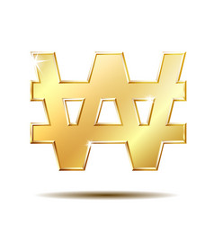 gold shiny korean won symbol vector image