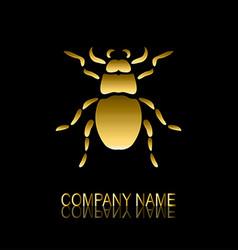 Golden bug symbol vector