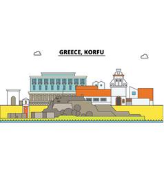 greece korfu city skyline architecture vector image