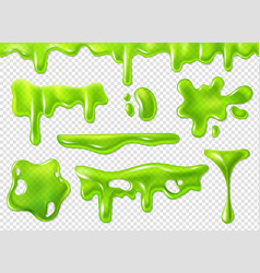Green slime slimy purulent blots goo splashes vector