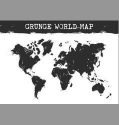 grunge world map realistic black ink color vector image