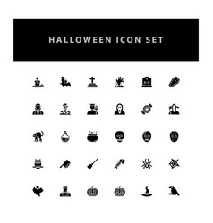 halloween icon set with glyph style design vector image