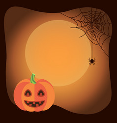 halloween poster background with funny pumpkin vector image