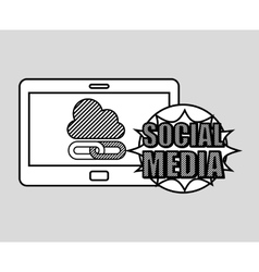 Hand drawing cloud link social media mobile vector