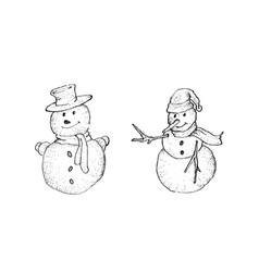 hand drawn sketch collection of two cute classic vector image