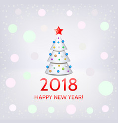 happy new year card with elegant christmas tree vector image