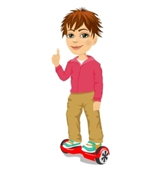 happy teenager boy riding gyroscooter vector image