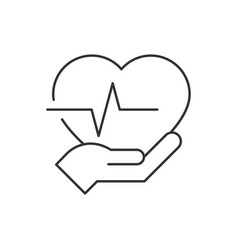 Heart with pulse on hand line icon on white vector