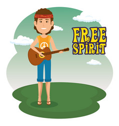 hippie man with a guitar cartoon vector image