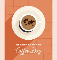International coffee day postcard vector