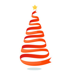 isolated red ribbon christmas tree on white space vector image