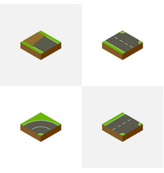 Isometric way set of rightward down bitumen and vector