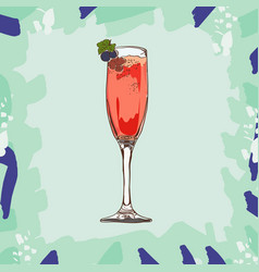 kir royale cocktail hand drawn vector image
