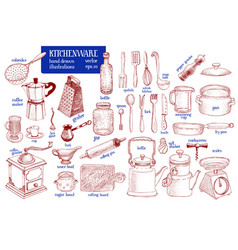 kitchenware set hand drawn tableware and vector image