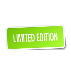 Limited edition green square sticker on white vector